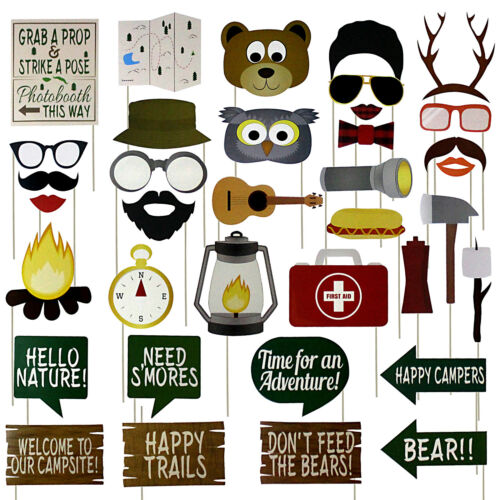 Woodland Camping Party Photo Booth Props 35 Count