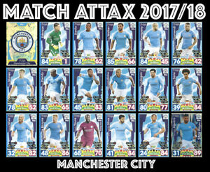 MATCH-ATTAX-2017-18-FULL-18-CARD-TEAM-SET-MANCHESTER-CITY