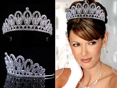 6.5cm Hoch Voll Strass Königin Hochzeit Braut Haarschmuck Krone Diademe Tiara