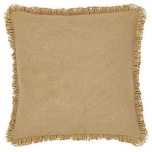 BURLAP-NATURAL-Fringed-26-034-Euro-Sham-Primitive-Tan-Khaki-Cotton-VHC-BRANDS