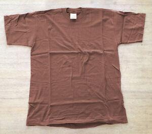 Maenner-Herren-T-Shirt-braun-schoko-Rohware-uni-Baumwolle-Fruit-of-the-Loom-L