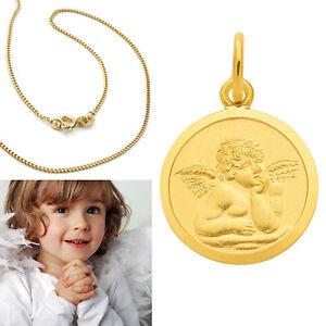 Gott schütze Dich Kinder Kette Schutz Engel Anhänger Echt Silber 925 vergoldet
