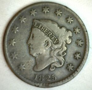 1825-Coronet-Large-Cent-US-Copper-Type-Coin-VG-Very-Good-Copper-Penny-M4