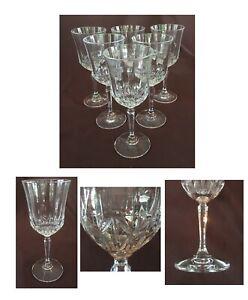 VINTAGE Wine Glasses 10 oz. Clear Vertical Cuts Beveled Stem 6-Piece Set
