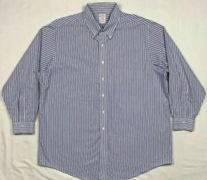 Brooks-Brothers-Madison-Mens-Blue-Striped-L-S-Button-Down-Dress-Shirt-Sz-18-B5