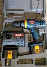 RYOBI -14.4V Cordless Drill w/HARD CASE, CHARGER & 2 Batteries (Model HP1442M)