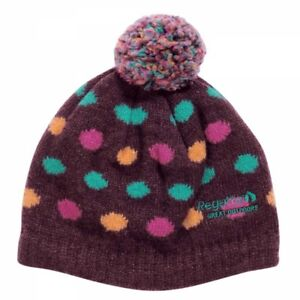 Regatta-Dot2Dot-Girls-Fleece-Lined-Warm-Winter-PomPom-Hat-Burgundy-11-13-Yrs