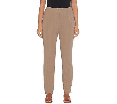 A344856 Susan Graver Petite Ponte Knit Slim-Leg Ankle Pants-435