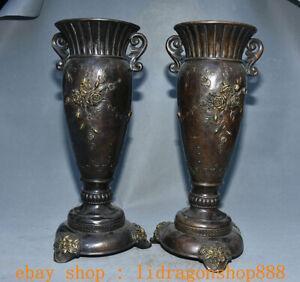 15-8-034-Ancien-Chinois-Bronze-Dynastie-Fleur-Dragon-2-oreille-Bouteille-Vase-Paire