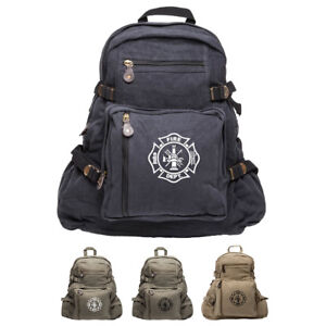 Fire Department Maltese Cross Army Heavyweight Canvas Messenger Shoulder Bag in Black /& Red