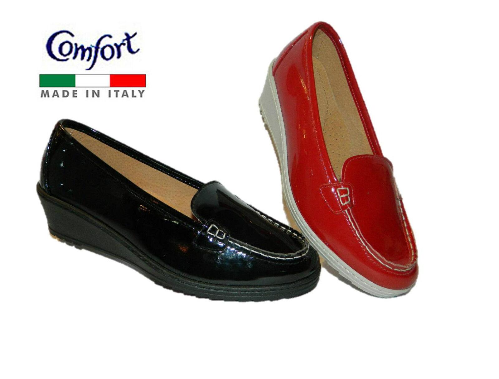 Linea Linea Linea Cómodo Mocasines Para mujeres Zapatos Fabricado en Italia Rojo Negro  promocionales de incentivo
