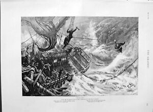 Original-Old-Antique-Print-1889-Scene-Ship-Wreck-Rescue-Sea-Tom-Hemy-Fine-Art