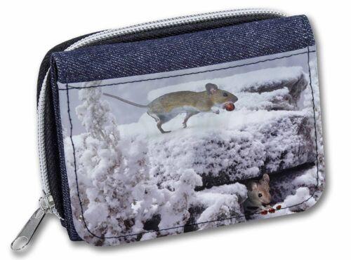 AMO-4JW Field Mice Snow Mouse Girls//Ladies Denim Purse Wallet Christmas Gift I