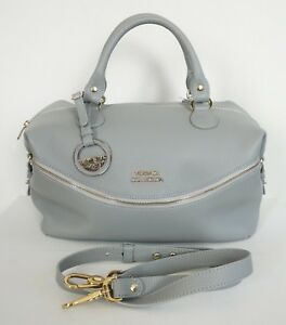 Image is loading NEW-Authentic-VERSACE-COLLECTION-Gray-Pebbled-Leather- Shoulder- e647ab4356c27