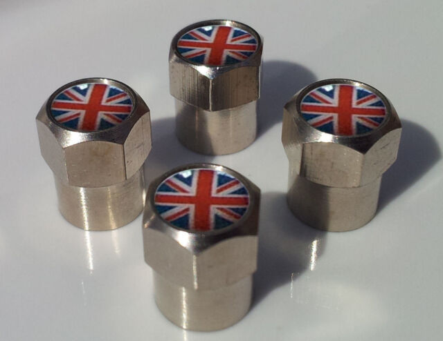 Set Of 4 Richbrook Spinning Car Anti-Theft Silver Alloy Wheel Valve Dust Caps