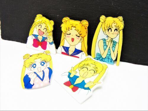 Set of 5 Mixed Sailor Moon Pin Badge Acrylic Manga Girl Brooch for Bags NEW UK