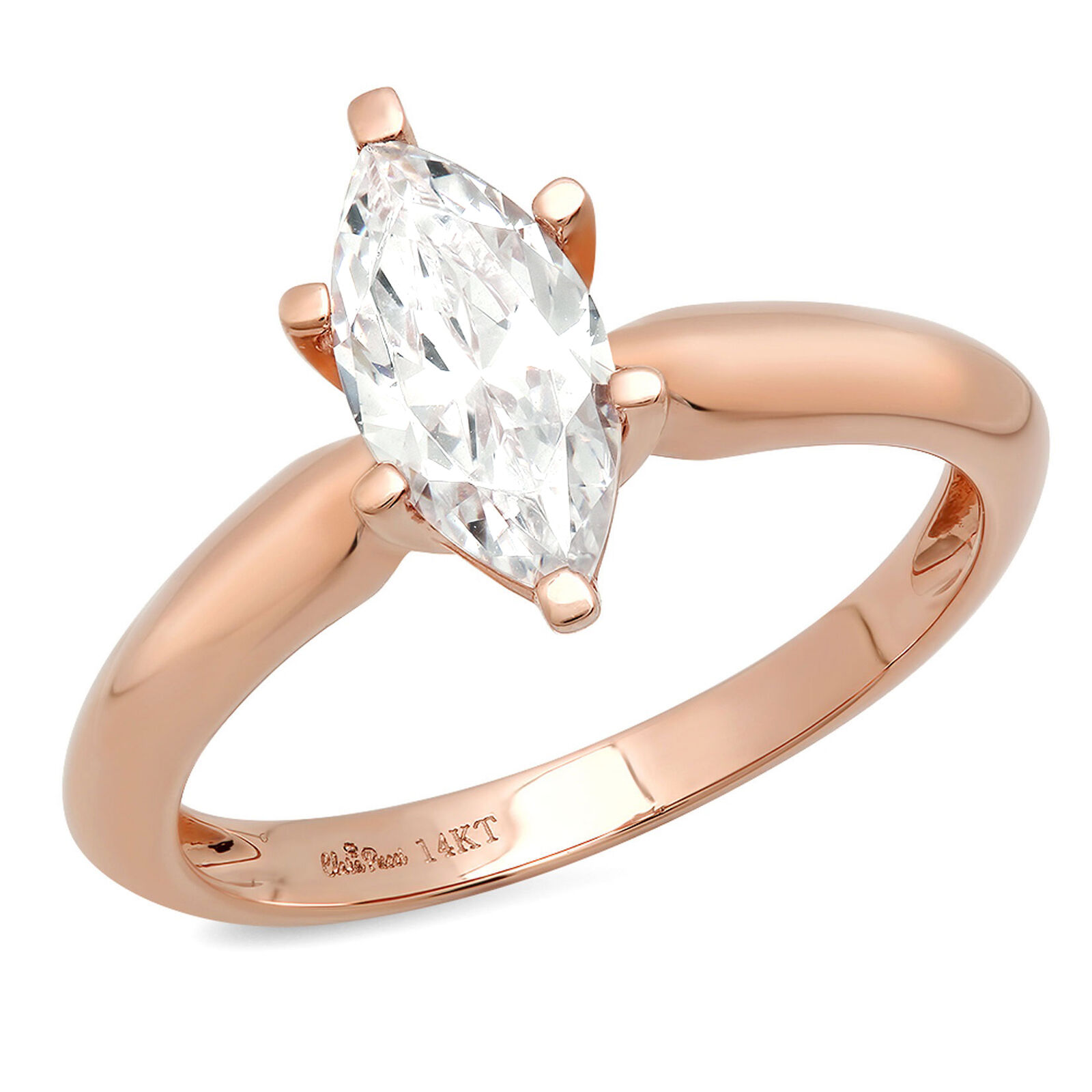 1.7ct Marquise Cut Designer Bridal Engagement Promise Ring Solid 14k pink gold
