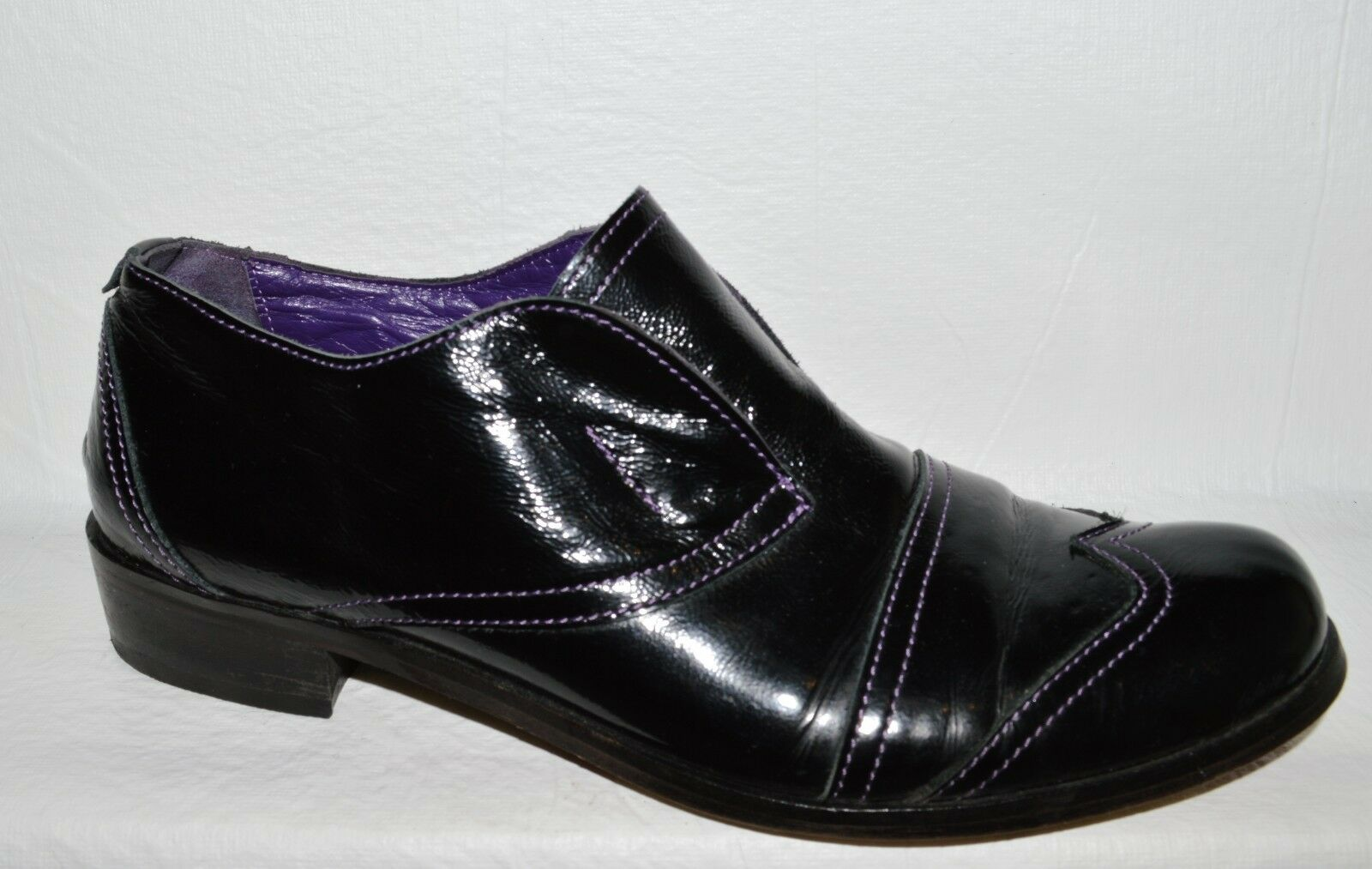 PIED A TERRE  8.5 M 38 BLACK PATENT LEATHER LACELESS OXFORDS LOAFERS SHOES ITALY