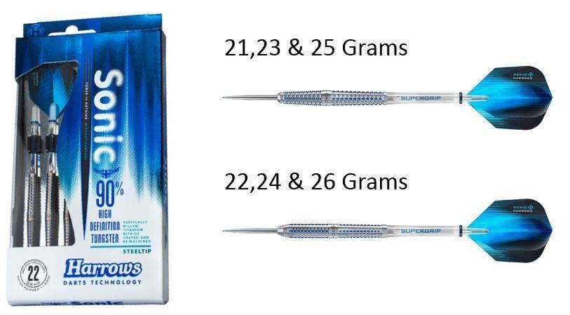 HARROWS SONIC 90% TUNGSTEN STEEL TIP DARTS 21g to 26g - TITANIUM NITRIDE COATING