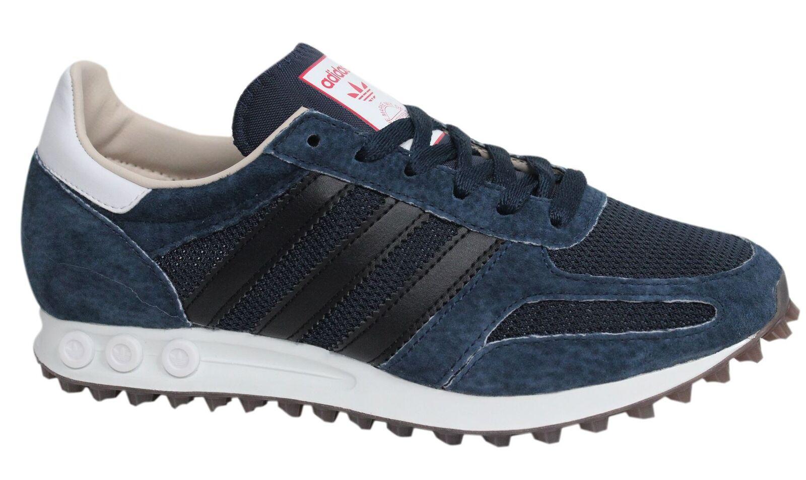 Adidas Originals LA Lace Up Navy Blue Leather Mens Trainers BB1210 D77