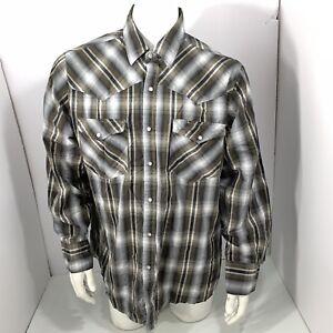 a45722bd Bit & Bridle Men's Gray Western Plaid Snap Pearl Button Front L/S ...