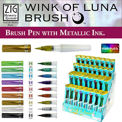Zig Kuretake Wink of Luna Metallic Brush Marker Pen *9 Colours*