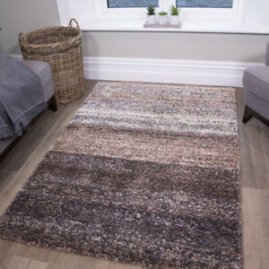 Natural Shaggy Rugs Beige Striped