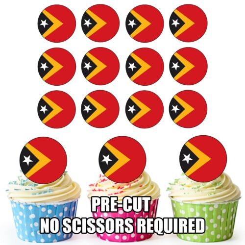 24 Cercle TIMOR ORIENTAL drapeaux-Cup Cake Toppers Décorations Fête Anniversaire