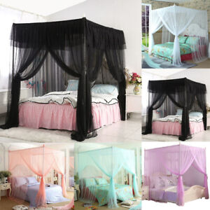 Details About 4 Corners Post Canopy Bed Curtain Mosquito Net Or Frame Twin Full Queen King