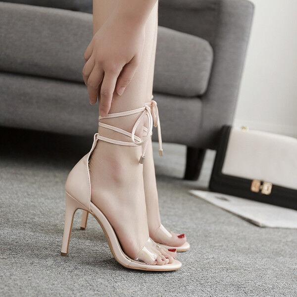 Sandale stiletto eleganti tacco 12 cm chiaro lacci simil pelle eleganti 1160