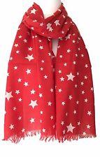 Red Star Scarf White Stars Cotton Wrap Ladies Fair Trade Shawl New