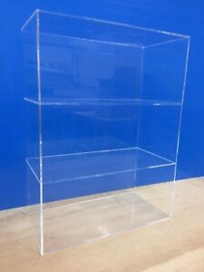 Acrylic-Lucite-Countertop-Display-ShowCase-Cabinet-12-034-x-8-034-x-16-034-h-2-shelves