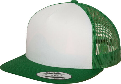 Yupoong Classic Trucker Mesh Back Cap Flat Visor Hat 5 Panel Snapback Adults New