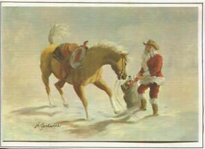 VINTAGE CHRISTMAS SANTA CLAUS YELLOW PALOMINO HORSE HILDRED GOODWINE ART CARD