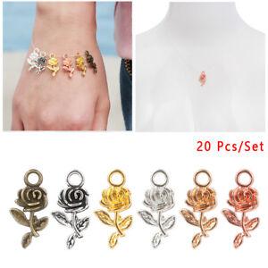 Tibet-Silver-Bracelet-Beads-Small-Charm-Rose-Flower-Necklace-Pendant