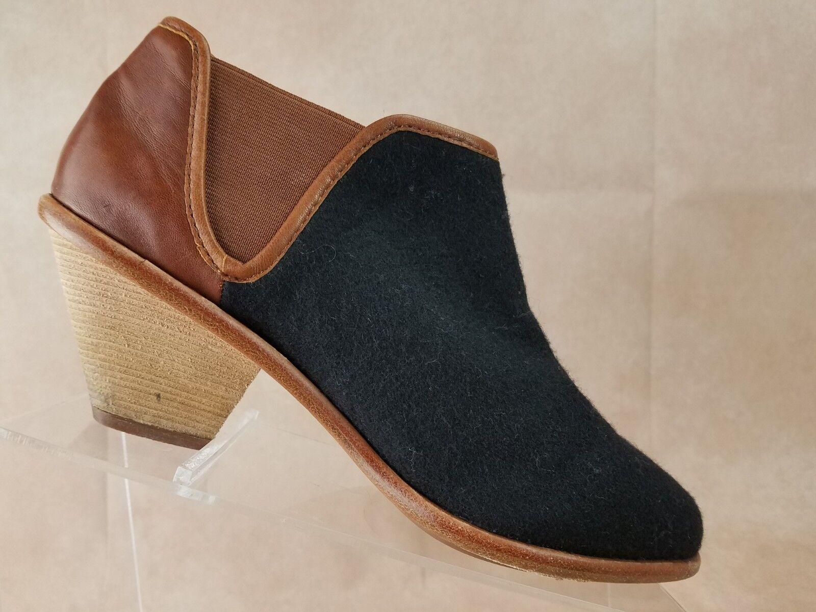 Matt Bernson Womens Ankle Boot Size 8 Black Brown Leather Elastic Anthropologie