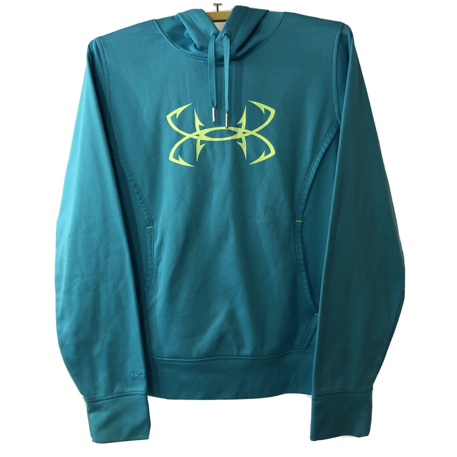 Under Armour Storm 1 Womens Sz Sm/P Hoodie Aqua Blue Fish Hook Logo Long Sleeve