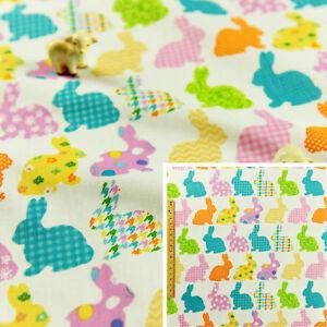 MULTI-Fat-Quarter-Meter-Cotton-Fabric-FQ-Easter-Bunny-Rabbit-Sew-Craft-Quilt