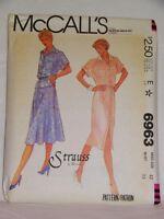 1980 Vintage Mccall's Pattern 6963 Sz 12 Top Skirt Front Button Dress Uncut
