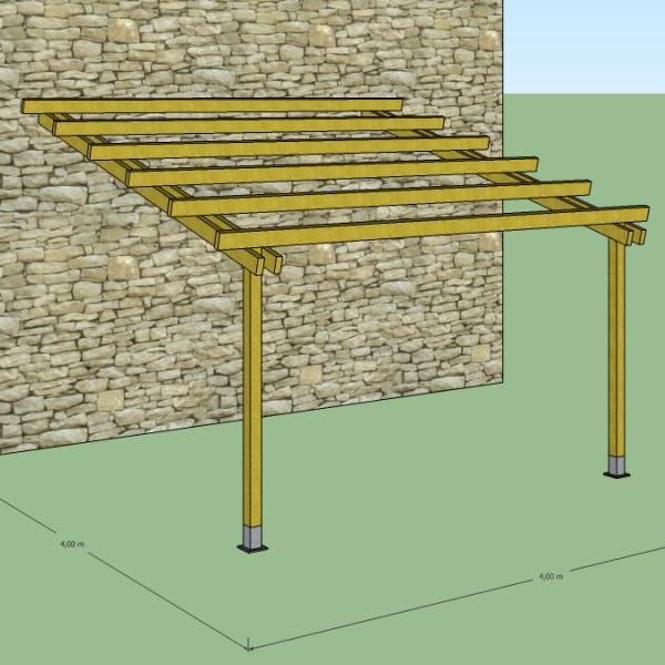 Pergola in legno 4x4 addossata a muro tettoia veranda for Pergola addossata in kit