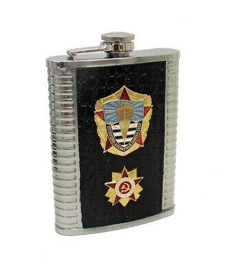 Details about  /8 oz Russian Stainless Steel Drinking Flask Parachute Metal /& USSR Badge Emblem