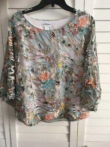 168 Peck blusa Nwt Xl 3d applique multicolore L con Woman's 6rX6z