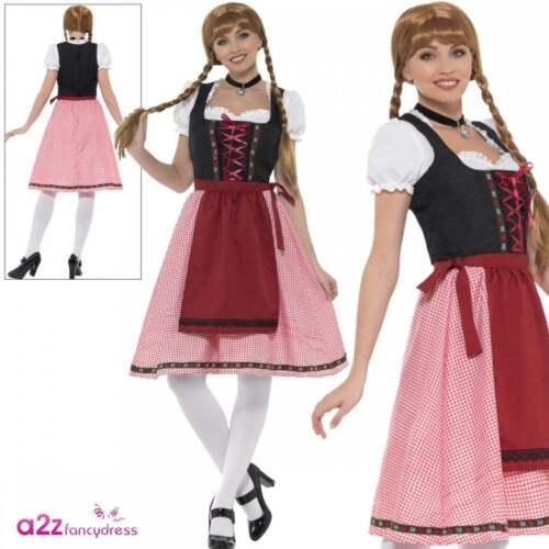 Ladies Bavarian Tavern Maid Costume Oktoberfest German Womens Fancy Dress Outfit