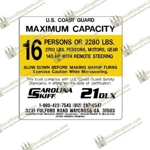 Carolina Skiff Capacity Plate Decals Boat Maximum Occupancy Multiple Variations