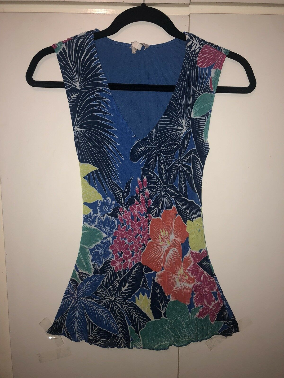 East John Lewis Size 8 Pleated Floral Summer Top Multi Coloured With Lining