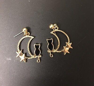 Fashion Gold Moon Night Star Shape Black Cat Dangle Stud Earrings Funky Kitsch