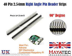 Tira de encabezado Arduino 40 Pin 2.54mm solo Raw encabezado de ángulo Derecho 90 grados 5 10  </span>