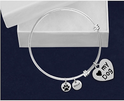 Sterling Silver-Plated Dog Retractable Charm Bracelet Pets-SALE BENEFITS RESCUE