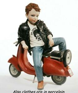 Figurine Porcelain Figure Figurine Boy Years 60 & Vespa Vintage Handmade