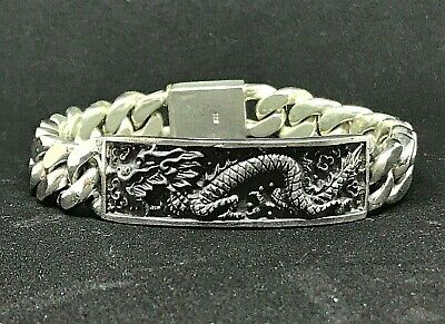 """105g 18/"""" TRIBAL DRAGON ARTISAN RINGS MENS NECKLACE CHAIN 925 STERLING SILVER PRE"""